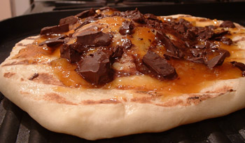 Apricot and chocolate focaccia