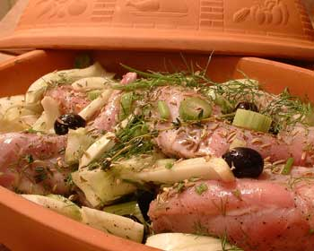 Chicken with Fennel, Olives, and White Wine