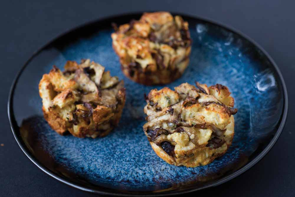 Roasted Wild Mushroom, Sage, &  Parmigiano Bread Pudding