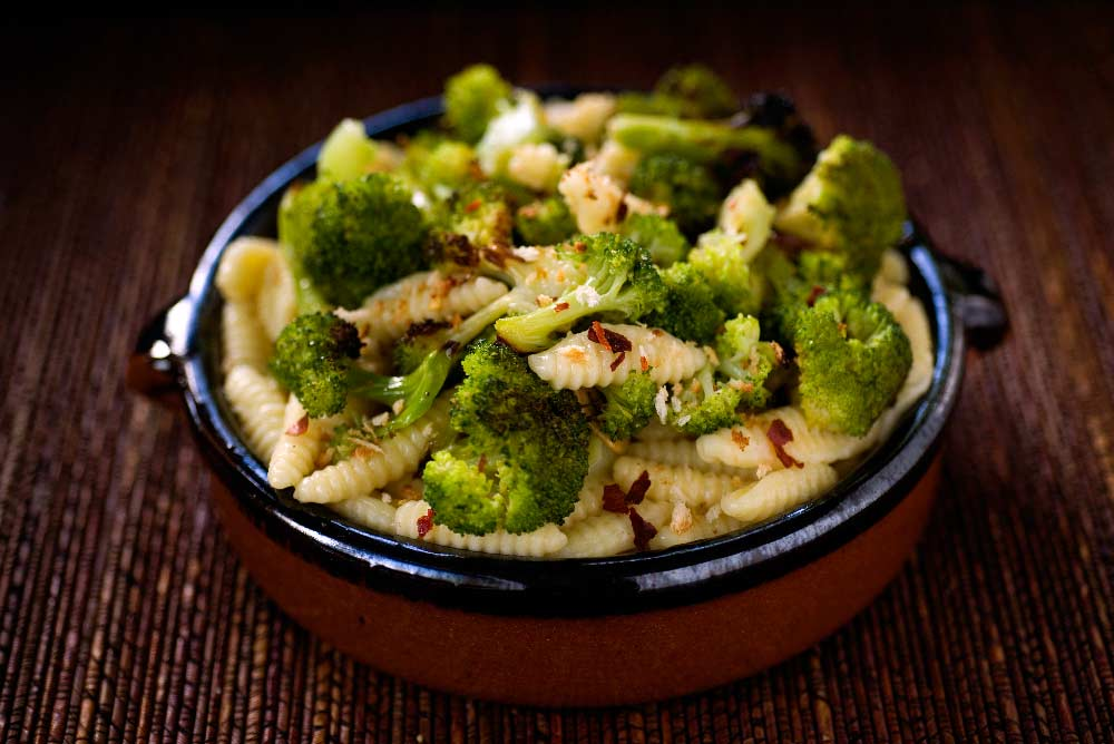 Cavatelli Pasta with Roasted Broccoli, Garlic, Chili, &Toasted Bread Crumbs