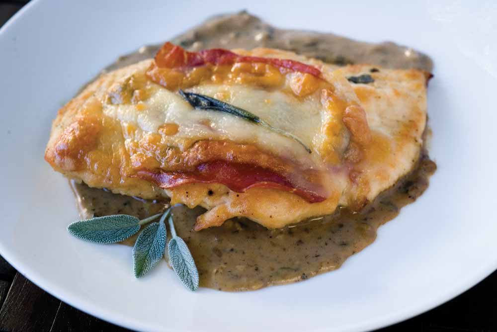 Chicken Scaloppine with Prosciutto & Provolone in Marsala Glaze