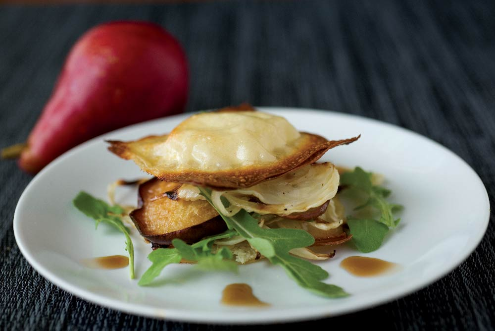 Crispy Goat Cheese Ravioli with Caramelized Fennel &  Balsamic Vinegar Splash