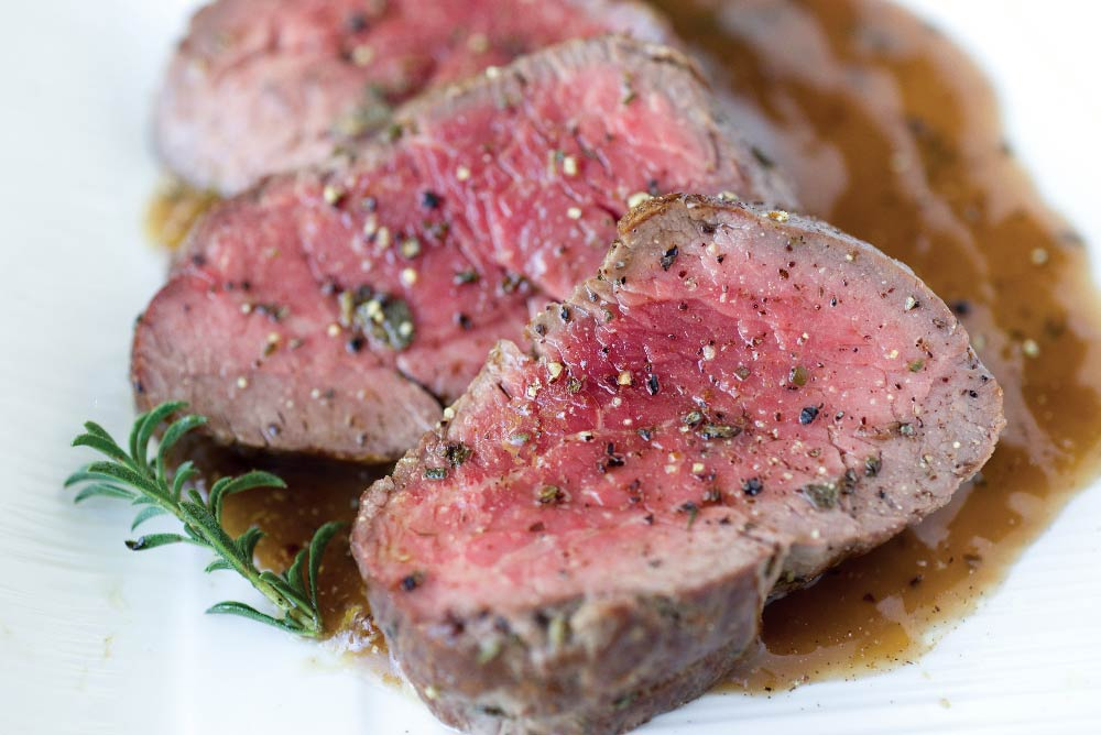 Filet Mignon with Leek &  Red Wine Sauce