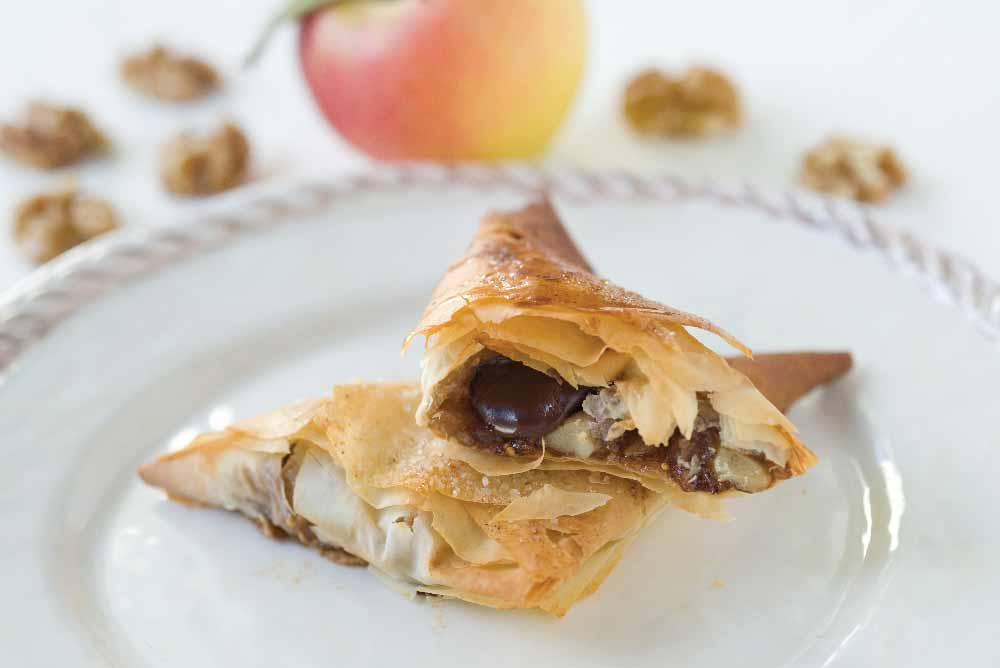 Crispy Fruit- and Chocolate-Stuffed Phyllo Triangles with Vanilla Bean Ice Cream
