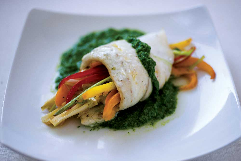 Stuffed &  Rolled Mediterranean Sea Bass with Fragrant Three-Herb Pesto