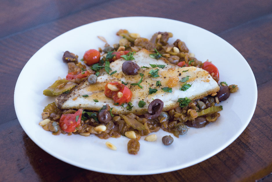 Sicilian-Style Mediterranean Sea Bass with Pine Nuts, Olives, &  Raisins