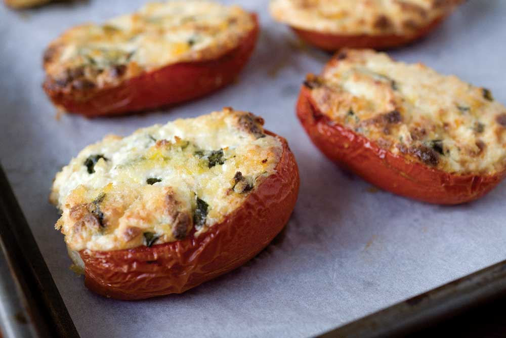 Roasted Tomatoes Stuffed with Herbed Ricotta  Mousse