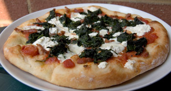 Pizza with Spinach, Spicy Pancetta, and Ricotta