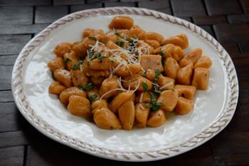 smoked mozzarella and pecans gnocchi sausage tomato peas smoked ...