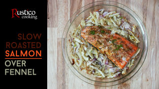 salmon over fennel top