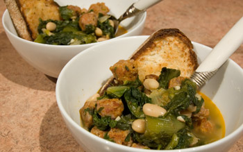 Escarole, sausage and cannelini soup