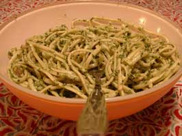 Step 5: Dilute Pesto with Pasta Cooking Water Before Tossing with Pasta