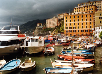 The port of Camogli in Liguria
